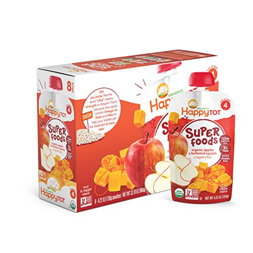 Happy Tot Organics Super Foods, Apples & Butternut Squash + Super Chia (8 Count, 4.22 oz Each)