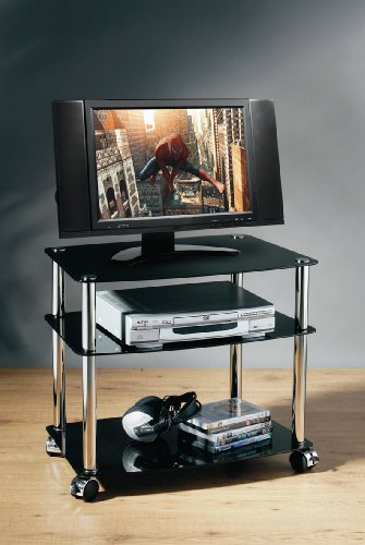 3 TIER TV DVD DISPLAY UNIT STAND BLACK GLASS TV TROLLEY