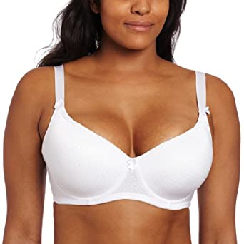 Carnival Womens Full Figured Seamless Jacquard Dots Bra, White, 34B