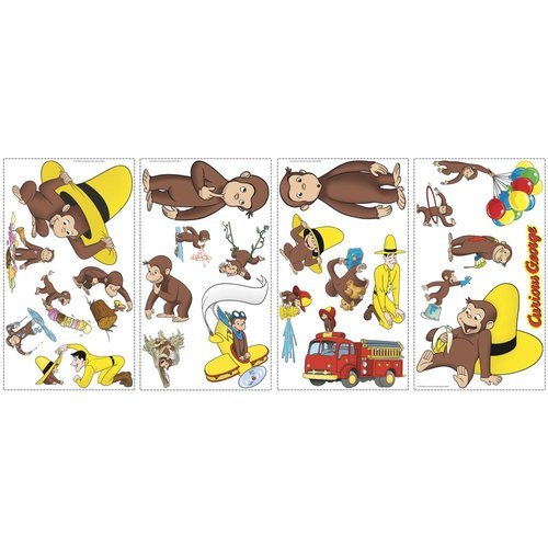 York Wallcoverings RMK1037SCS RoomMates Curious George Peel & Stick Wall Decals, - 1