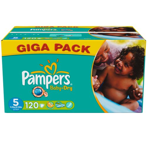 Baby-Dry Nappies (size 5: 11-25 kg) - 1 Giga Box containing 124 nappies
