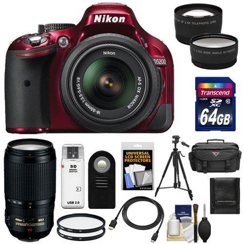 Nikon D5200 Digital Slr Camera & 18-55Mm G Vr Dx Af-S Zoom Lens (Red) With 70-300Mm Vr Lens + 64Gb Card + Battery + Case + Filters + Tele/Wide Lenses + Remote + Hdmi Cable + Tripod + Accessory Kit