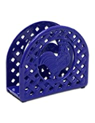Anchor Hocking Rustic Rooster Cast Iron Napkin Holder, Blue by Anchor Hocking