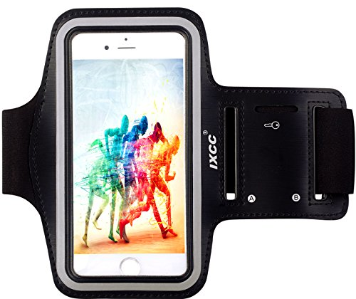 [apple Iphone 6/6s Armband] Ixcc ® Racer Series Easy Fitting [sport Gym Bike Cycle Jogging Running Walking] Armband - Featured With Scratch-resistant Material, Slim Lightweight, Dual Arm-size Slots (for Small And Large Arms), Sweat Proof And Key Pocket, Also Fits With Iphone 4/4s/5/5c/5s And Ipod Mp3 Player. [black]