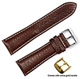 Sport Leather Watchband Brown 16mm Watch band - by deBeer
