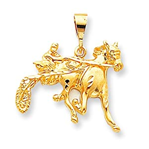 10K Yellow Gold Sulky Horse Racing Charm Race Jewelry