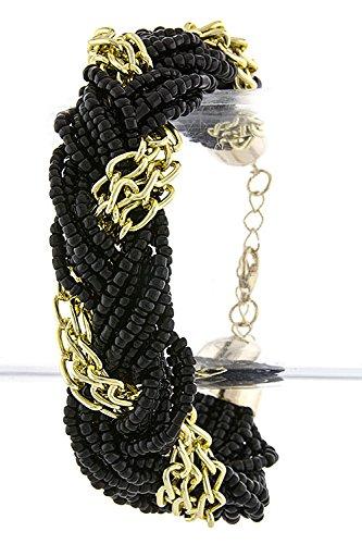 Trendy Fashion Jewelry Braided Bead Chain Bracelet By Fashion Destination | (Black) front-17357