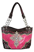 Vintage Western Inspired Tooled Faux Leather with Large Rhinestone Cross (Pink)