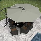 CorLiving PPU-430-U Offset Patio Umbrella, Sand Gray