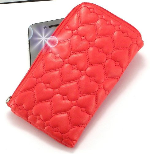 """miss"" Luxurious Padded Wallet / Holder With Carrying Strap With ""dreamer"" No. 10009 Gliter Phone Charm For - Samsung Touchwiz For Brazil (no 3g) . Unique Zipped Pouch / Case / Skin / Holster For Mobile Phone And Credit Cards - Red . Picture"