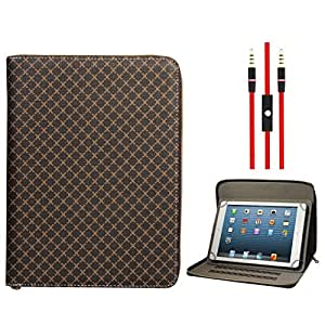 DMG Zippered Portfolio Cover Stand Case with Accessory Pockets for Swipe Halo Edge (Textured Brown) + 3.5mm Flat AUX Cable with Mic