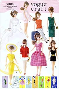 Vogue 9834 Vintage Fashion Barbie Doll Clothes Sewing Pattern