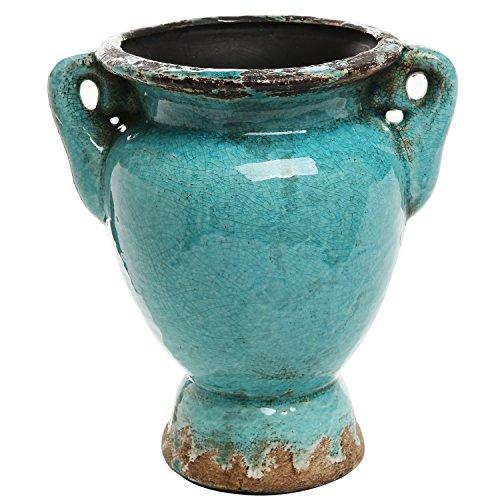 Turquoise antique rustic style double handle ceramic