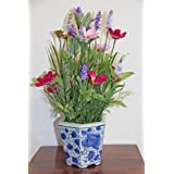 Cosmos Mix in Blue Willow Ceramic Pot Artificial Plant