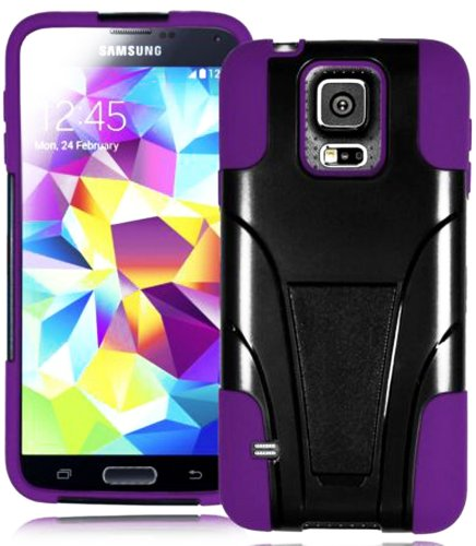 Mylife (Tm) Ultra Dark Black And Deep Purple - Neo Hybrid Series (Built In Kickstand) 2 Piece + 2 Layer Case For New Galaxy S5 (5G) Smartphone By Samsung (External Hard Fit Armor With Built In Kick Stand + Internal Soft Silicone Rubberized Flex Gel Bumper
