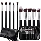 Roybens Premium Wood Handles 10 Piece Professional Cosmetic Kabuki Makeup Brush Set Cosmetics Foundation Blending Blush Concealer Eyeliner Face Powder Brush Suit With Pu Leather Case