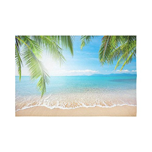 Interestprint Bule Sea Tropical Beach Palm Tree Wall