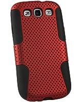 igadgitz Noir Étui Housse silicone et Mesh Maille Rouge Polycarbonate pour Samsung Galaxy S3 III i9300 Android Smartphone + Protecteur d'écran.