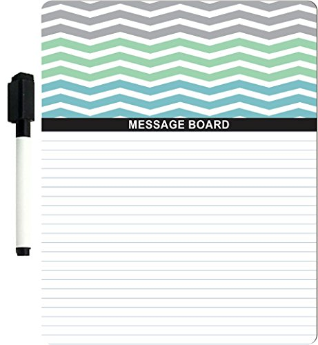 """Rikki Knighttm Chunky Chevron Grey Turquoise Ocean Zig Zag Design 8"""" X 10"""" X 1/8 Hardboard Dry Erase Message Board With Magnet Strips On Back (Black Marker Included) front-580200"""