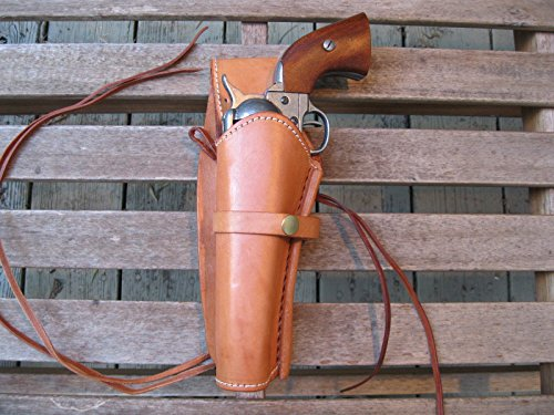 """Western Gun Holster - Natural Color - Left Handed - for 22 Caliber single action revolver - Size 6"""" - Smooth Leather by Western Express"""