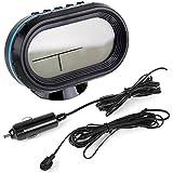 SODIAL(R) Thermometre Voltmetre Detecteur Voltage Tension batterie mesure Temperature exterieur et interieur alarme horloge affichage LCD numerique pour voiture