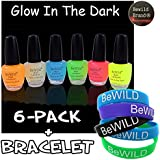 6 Pack Of Glow In The Dark Nail Polish & BeWild Brand Bracelet