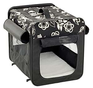 Karlie Flamingo Smart Top Floral Dog Transport Box in Black 2 Sizes