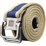 Aubig New Men Webbing Handmade Double Ring Buckle Waistband Waist Canvas Leather Belt - Three colours