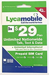 lycamobile $29 Plan Preloaded sim card with 3 month service