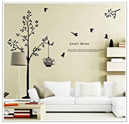 OneHouse Tall Black Tree with Birds and Birdcage Love\'s Secret Quote Wall Decal Sticker Decor