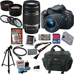 Canon EOS Rebel T5i 18.0 MP CMOS Digital Camera with EF-S 18-55mm f/3.5-5.6 IS STM Zoom Lens + EF-S 55-250mm f/4.0-5.6 IS Telephoto Zoom Lens + Telephoto & Wide Angle Lenses + 12pc Bundle 32GB Deluxe Accessory Kit
