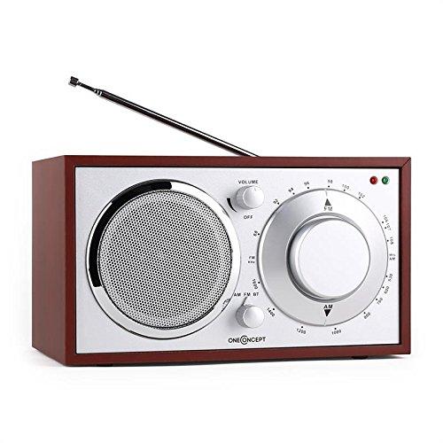 oneConcept Lausanne Novelty-Radio Retro Radio kleines Holz Küchenradio (Bluetooth, UKW-Tuner, AUX, Netz-Betrieb) kirsche
