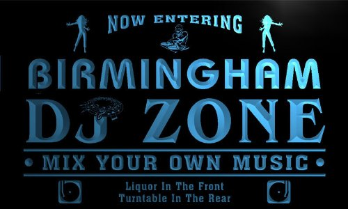 Qh2147-B Birmingham Dj Disc Jockey Zone Turntable Music Neon Light Sign