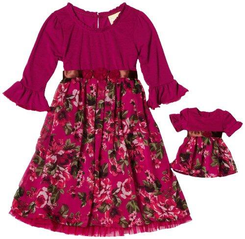 Dollie & Me Girls 7-16 Sweet Heart Rose Jersey Chiffon Mesh Casual Dress