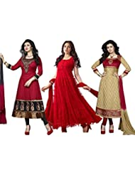 DivyaEmporio Women's Faux Crepe Salwar Suit And Anarkali Dress Material Combo Of 3 Suits