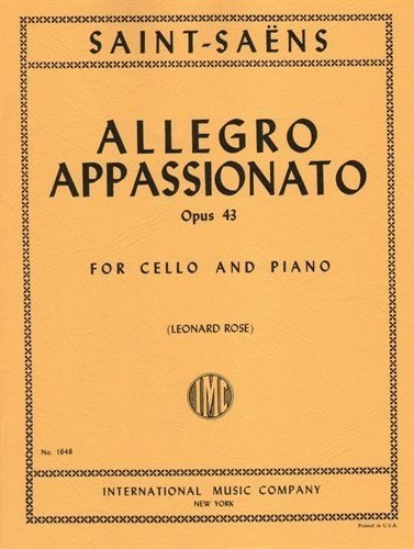 Saint-Saens Camille Allegro Appassionato Op43. For Cello and Piano. by Leonard Rose. International PDF