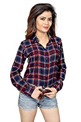 Trendif Red And Navy Blue Poly Modal Viscose Checkered Shirt