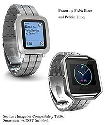 Pebble 2 & 1 / Fitbit Blaze / Moto 360 2nd Gen Metal Band, Truffol Strap 22mm Quick Release Wristband (Free Tools) (Silver/Black)
