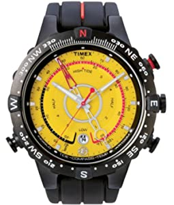 Timex Mens Expedition E Tide Temp Compass yellow dial black silicon strap - T49707ES Indiglo Night Light and 100m water resistant