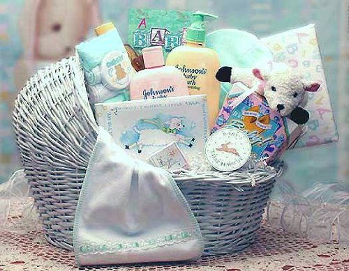 Welcome Baby Bassinet Gift Basket - For Baby Boy