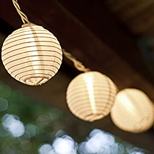 String Of Lantern Lights Indoor : Set of 10 White Indoor/Outdoor Mini Oriental Style Nylon Lantern Plug-in String Lights ...