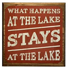 What Happens At The Lake Stays At The Lake Sign - Red - Lake House Sign - Rustic Decor - Large Solid Wood 11x11x1.5 - Makes a Great Decoration, Wall Art, or Gift in Any Beach House, Cabin, Cottage, or Lodge. Made in USA.
