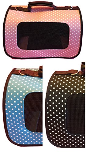 Pet Carrier – Soft Sided (Pink Polka Dot) VARIOUS COLORS & SIZES