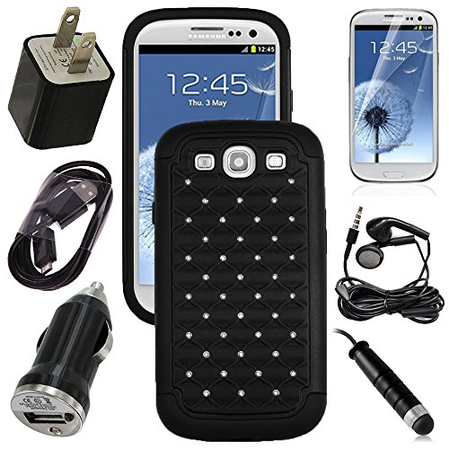 Samsung Galaxy S3, S Iii, Gs3 Black Diamond Studs Dual Layer Rugged Case, Usb Car Charger Plug, Usb Home Charger Plug, Usb 2.0 Data Cable, Metallic Stylus Pen, Stereo Headset & Screen Protector (7 Items) Retail Value: $89.95
