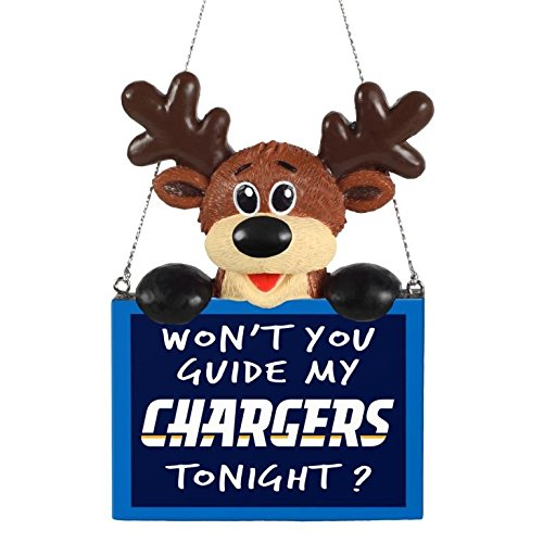 NFL Reindeer With Sign Holiday Tree Ornament San Diego Chargers