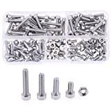 Hilitchi 180pcs M4 Stainless Steel Hex Socket Head Cap Screws Nuts Assortment Kit with Box (M4)