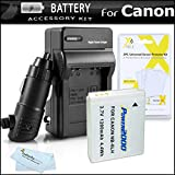 Battery And Charger Kit For Canon PowerShot SX260 HS, Canon SX500 IS, SX510 HS, SX520 HS, SX530 HS, SX170 IS, SX610 HS, SX710 HS, S120, D30 Digital Camera Includes Replacement NB-6L Battery + Charger