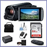 Canon VIXIA HF R800 Full HD Camcorder Bundle, includes: 64GB SDXC Memory Card, Card Reader, Spare Battery and more... (Color: Black, Tamaño: 7 Piece Bundle)