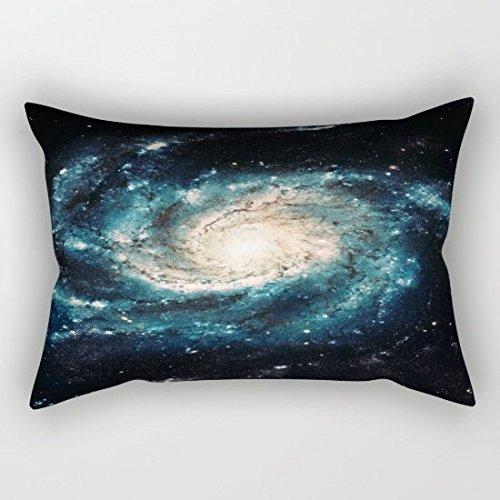 OliyneCo Teal Spiral Galaxy Tela di Cotone Decorativo federe Cuscino Cuscino, Rettangolare, 20x 76