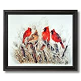 Red Birds Cardinals In Grass Animal Wildlife Home Decor Wall Picture Black Framed Art Print